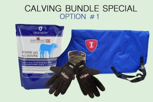 CALVING BUNDLE SPECIAL - OPTION 1:   1 case First Start 100 IgG Colostrum, 3 Calf Blankets, 1 pair of FREE Work Gloves